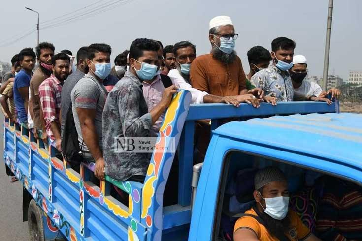 ঢাকা ছাড়তে মরিয়া জনস্রোতে ভেসে যাচ্ছে স্বাস্থ্যবিধি