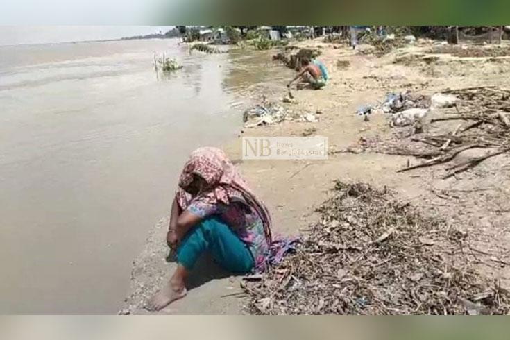 সিরাজগঞ্জে চরে ভাঙন শুরু, ৫০ ঘর বিলীন