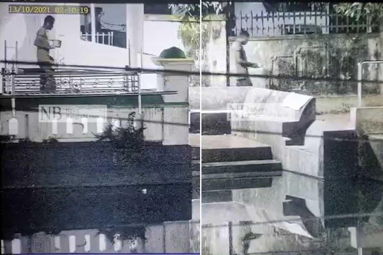 পাশের মসজিদ থেকে কোরআন এনে মণ্ডপে রাখেন ইকবাল